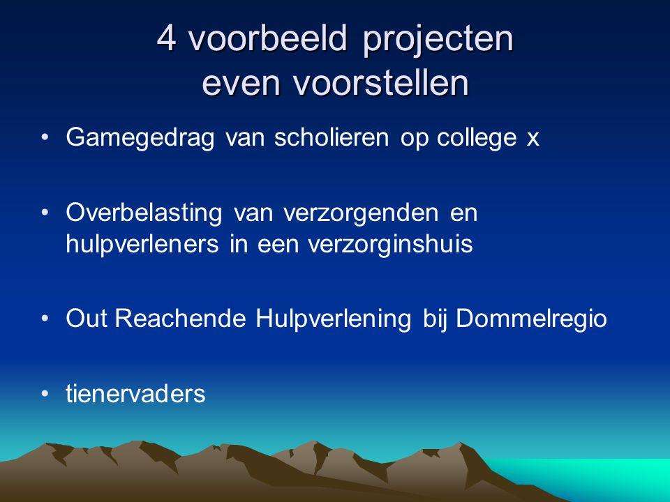 4 voorbeeld projecten even voorstellen