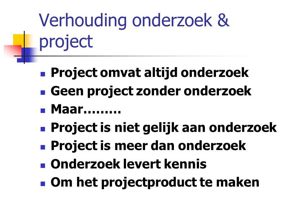 Verhouding onderzoek & project