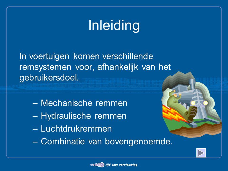 Inleiding In voertuigen komen verschillende remsystemen voor, afhankelijk van het gebruikersdoel. Mechanische remmen.