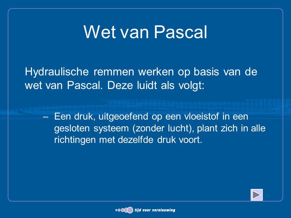 Wet van Pascal Hydraulische remmen werken op basis van de wet van Pascal. Deze luidt als volgt: