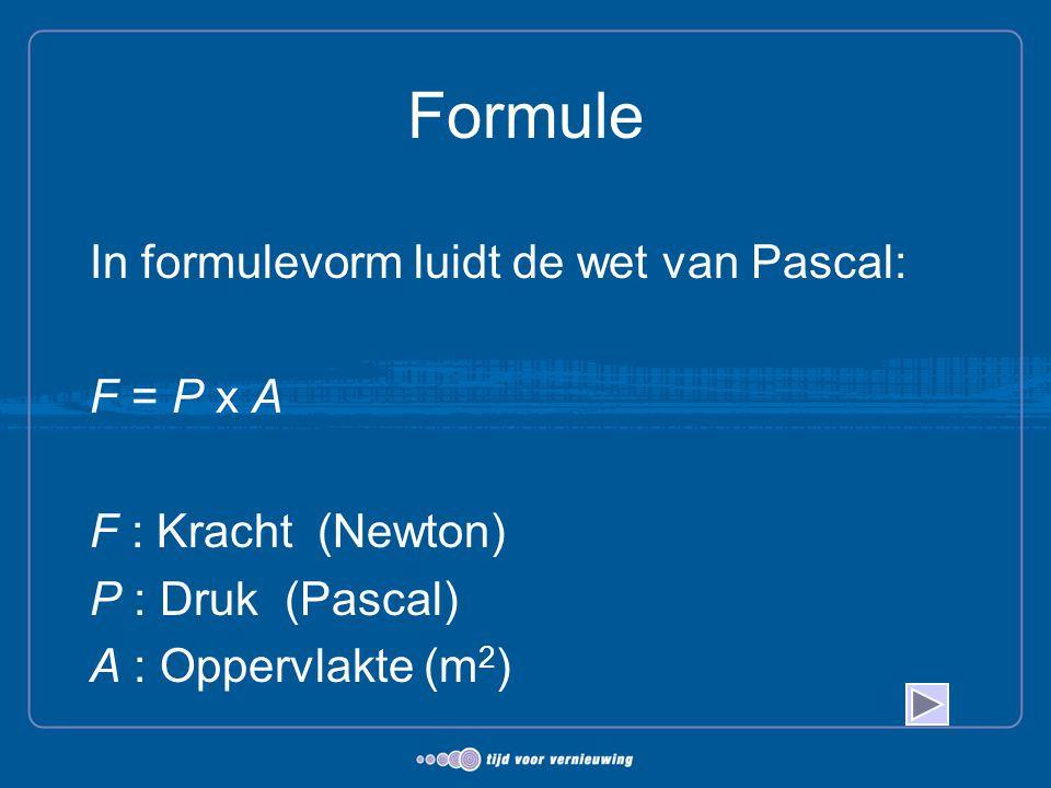 Formule In formulevorm luidt de wet van Pascal: F = P x A