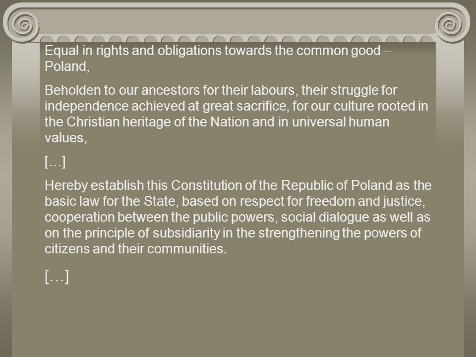 Equal in rights and obligations towards the common good – Poland,