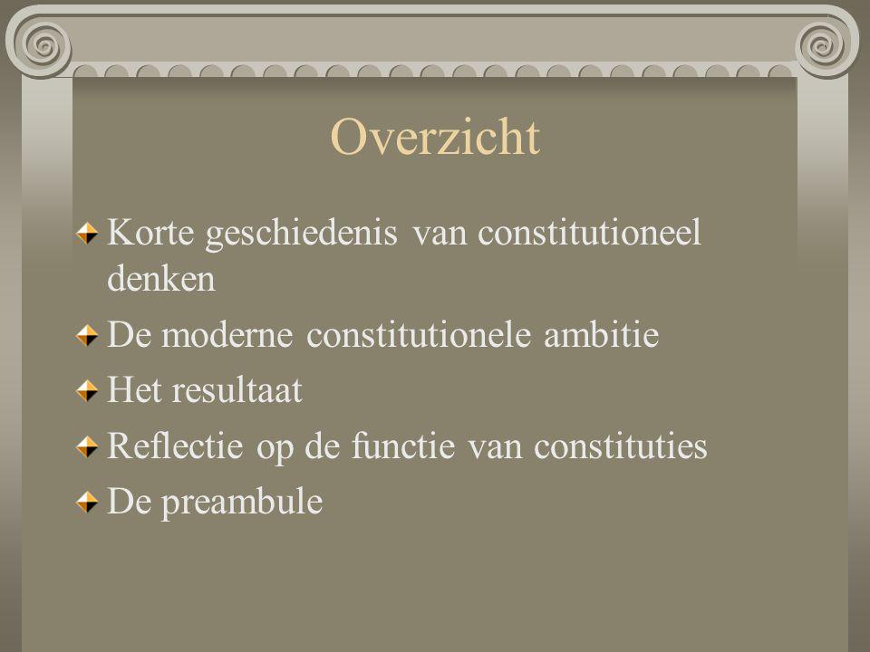 Overzicht Korte geschiedenis van constitutioneel denken