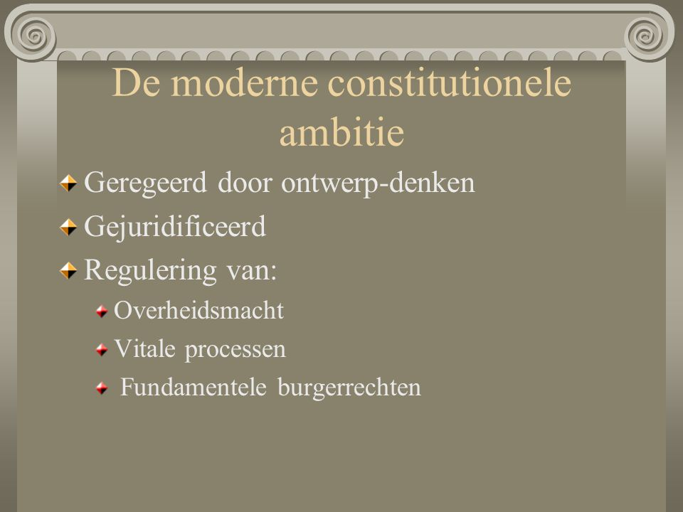 De moderne constitutionele ambitie