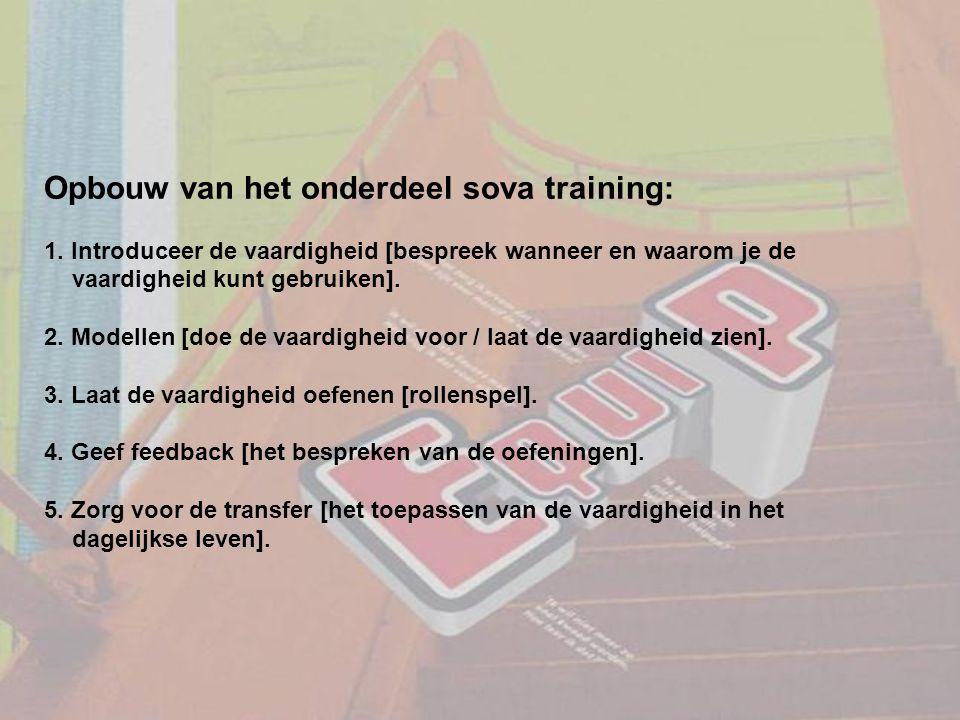 Opbouw van het onderdeel sova training: