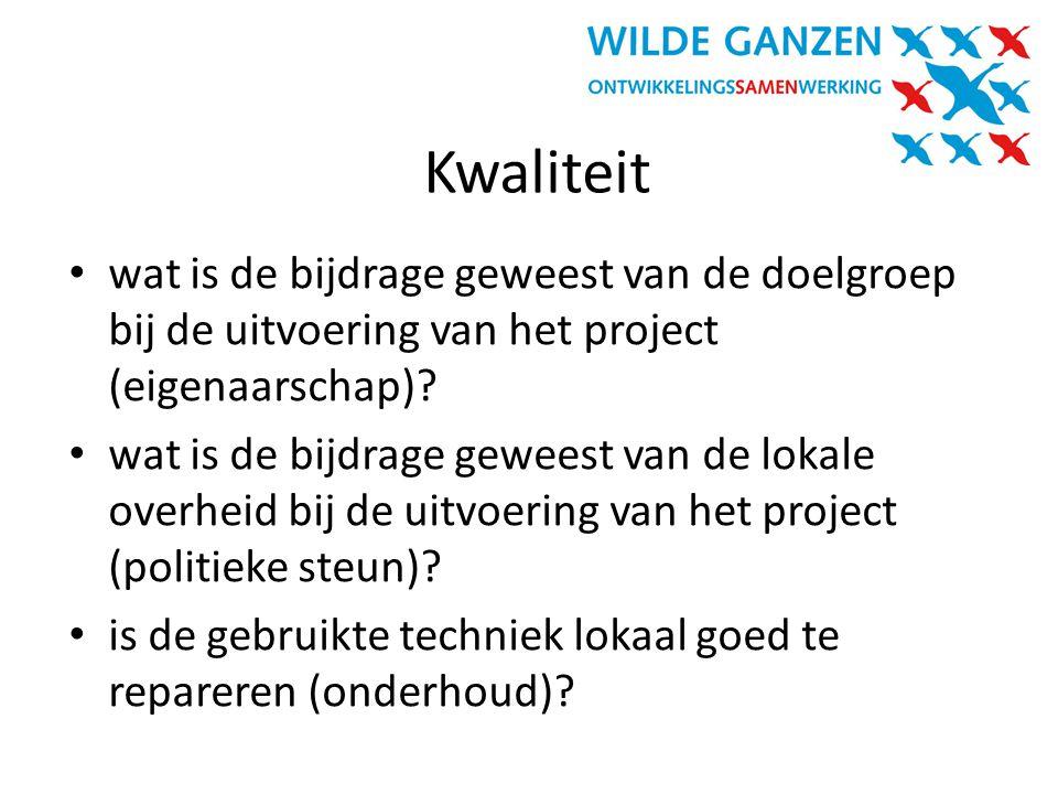 Kwaliteit wat is de bijdrage geweest van de doelgroep bij de uitvoering van het project (eigenaarschap)