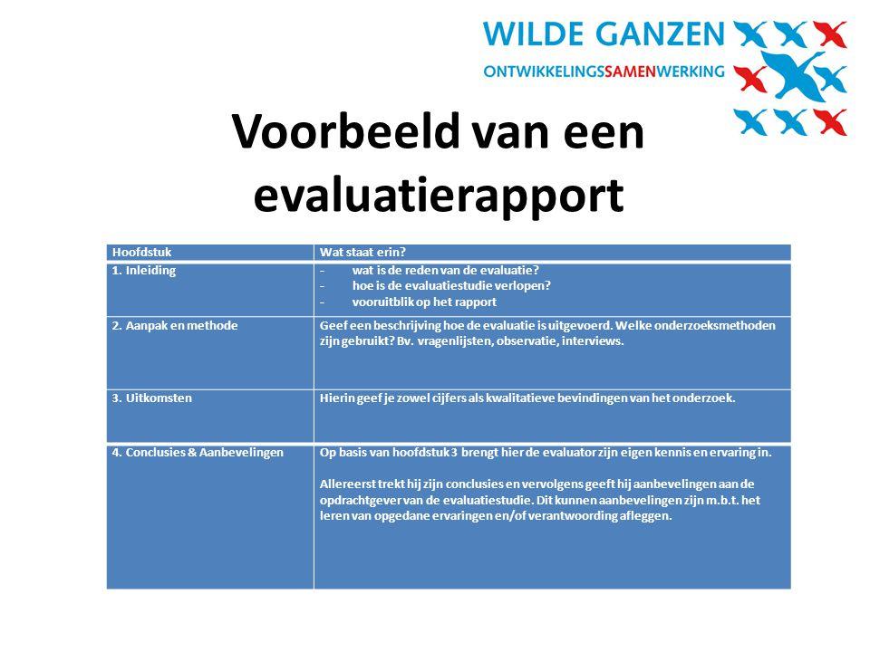 Voorbeeld van een evaluatierapport