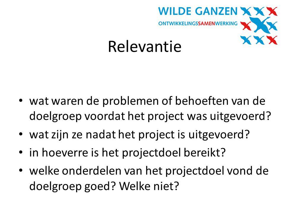 Relevantie wat waren de problemen of behoeften van de doelgroep voordat het project was uitgevoerd