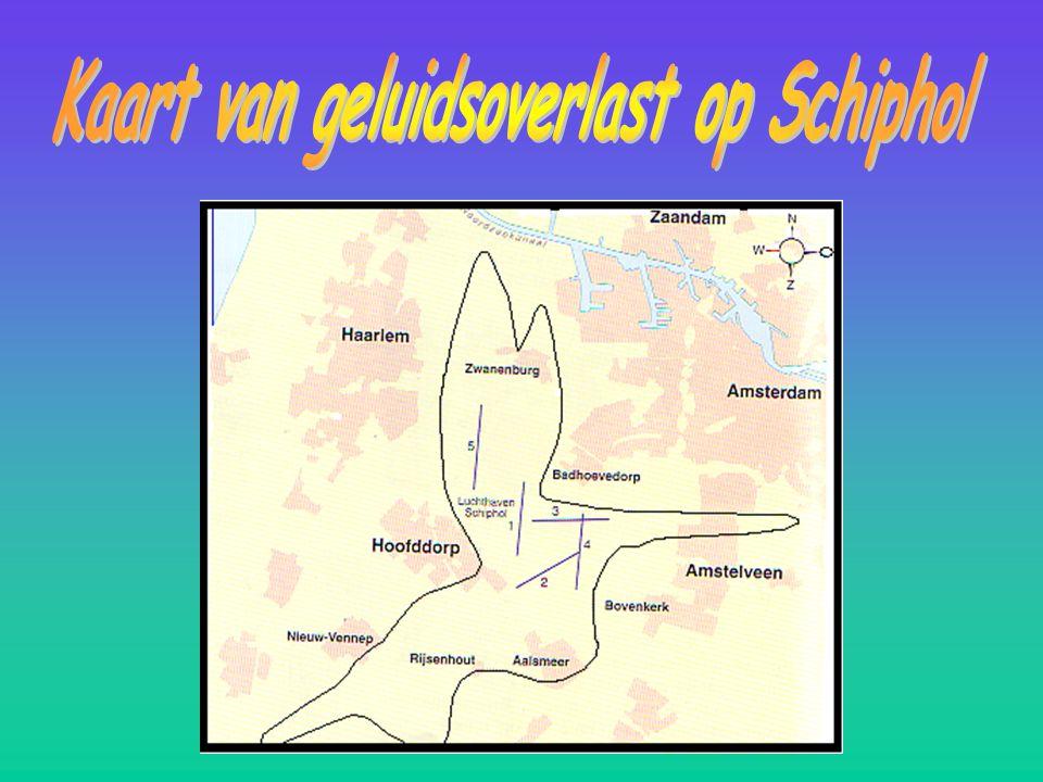 Kaart van geluidsoverlast op Schiphol