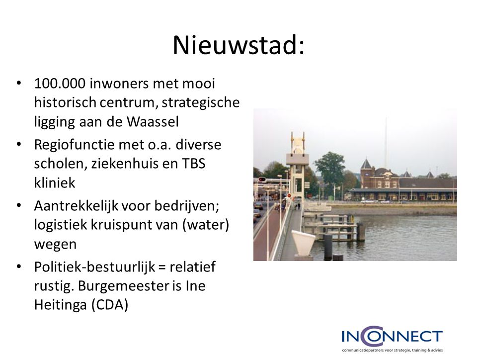 Nieuwstad: 100.000 inwoners met mooi historisch centrum, strategische ligging aan de Waassel.