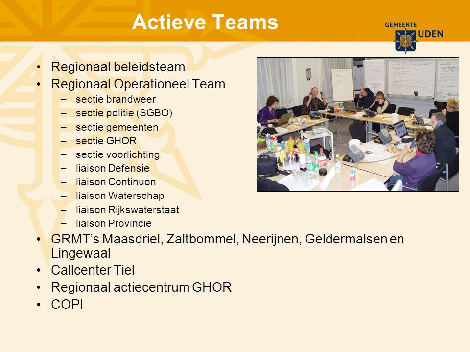 Actieve Teams Regionaal beleidsteam Regionaal Operationeel Team