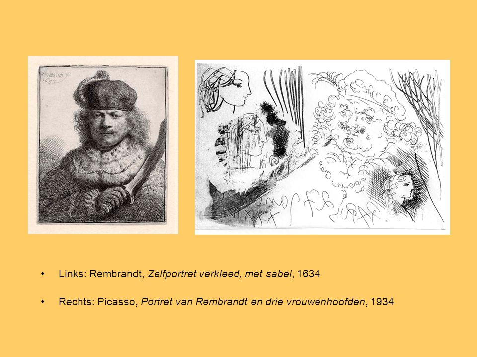 Links: Rembrandt, Zelfportret verkleed, met sabel, 1634