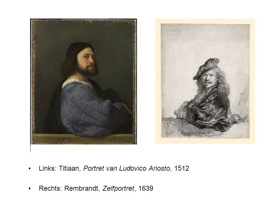 Links: Titiaan, Portret van Ludovico Ariosto, 1512