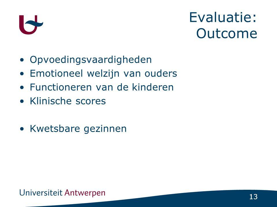 Evaluatie: Outcome Opvoedingsvaardigheden