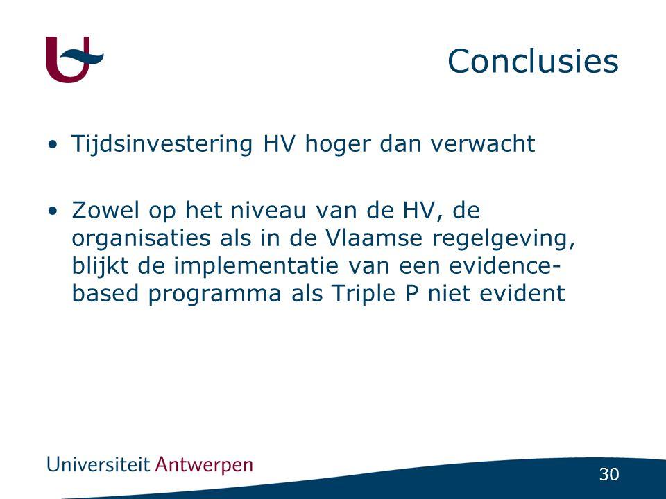 Conclusies Tijdsinvestering HV hoger dan verwacht
