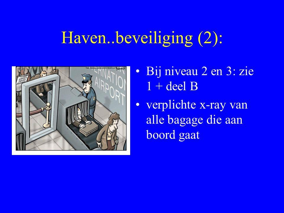Haven..beveiliging (2): Bij niveau 2 en 3: zie 1 + deel B