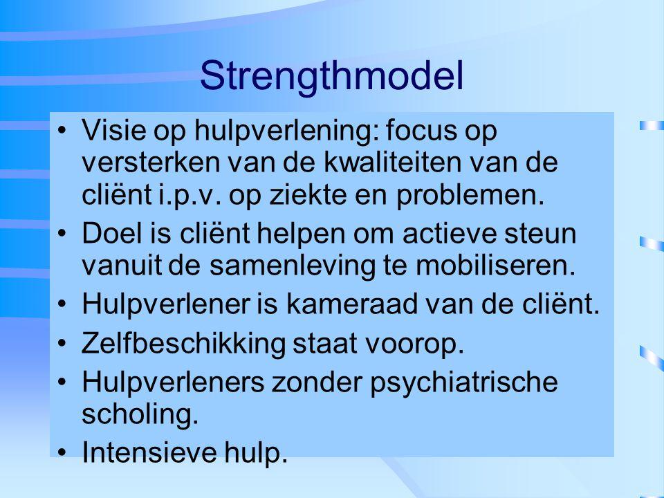 Strengthmodel Visie op hulpverlening: focus op versterken van de kwaliteiten van de cliënt i.p.v. op ziekte en problemen.