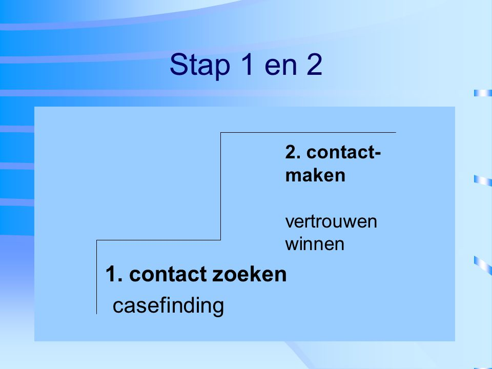 Stap 1 en 2 1. contact zoeken casefinding