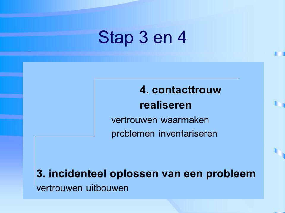 Stap 3 en 4 4. contacttrouw realiseren