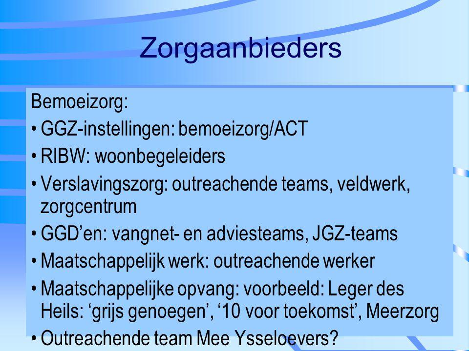 Zorgaanbieders Bemoeizorg: GGZ-instellingen: bemoeizorg/ACT