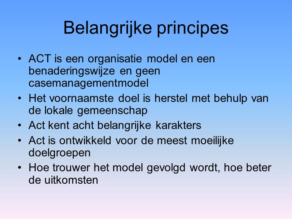 Belangrijke principes