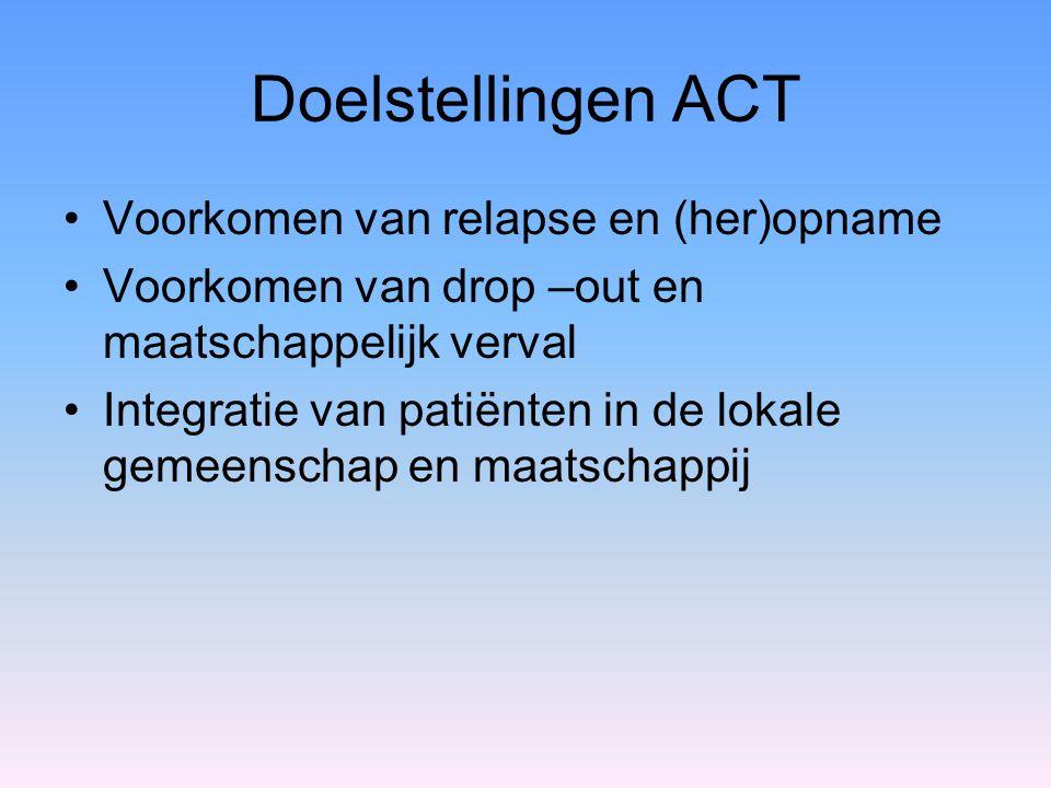 Doelstellingen ACT Voorkomen van relapse en (her)opname