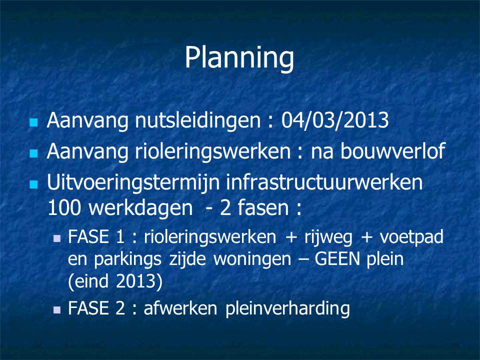 Planning Aanvang nutsleidingen : 04/03/2013