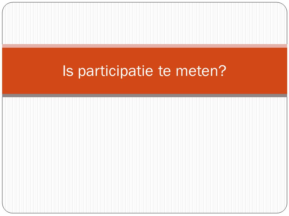 Is participatie te meten