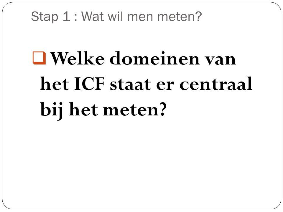 Welke domeinen van het ICF staat er centraal bij het meten