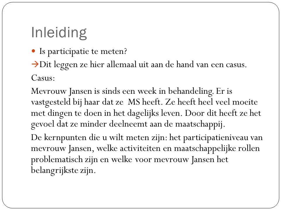 Inleiding Is participatie te meten