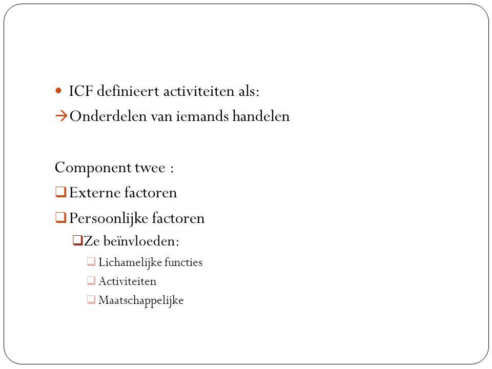 ICF definieert activiteiten als: Onderdelen van iemands handelen