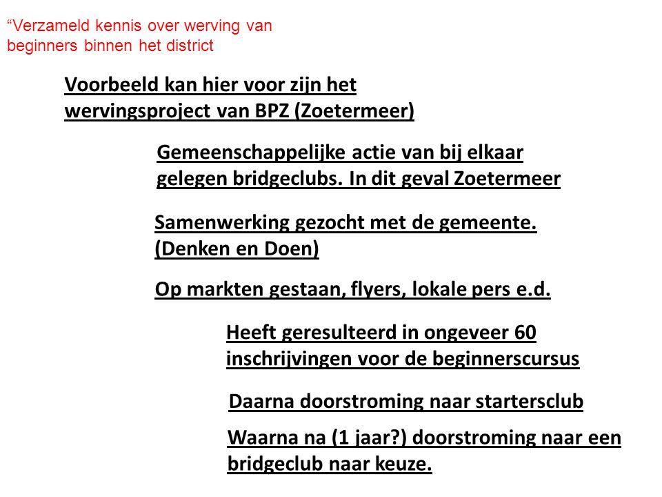 Voorbeeld kan hier voor zijn het wervingsproject van BPZ (Zoetermeer)
