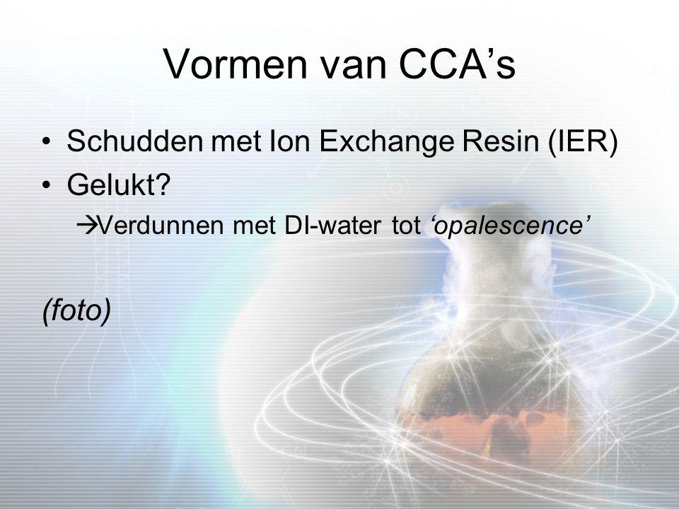 Vormen van CCA's Schudden met Ion Exchange Resin (IER) Gelukt (foto)