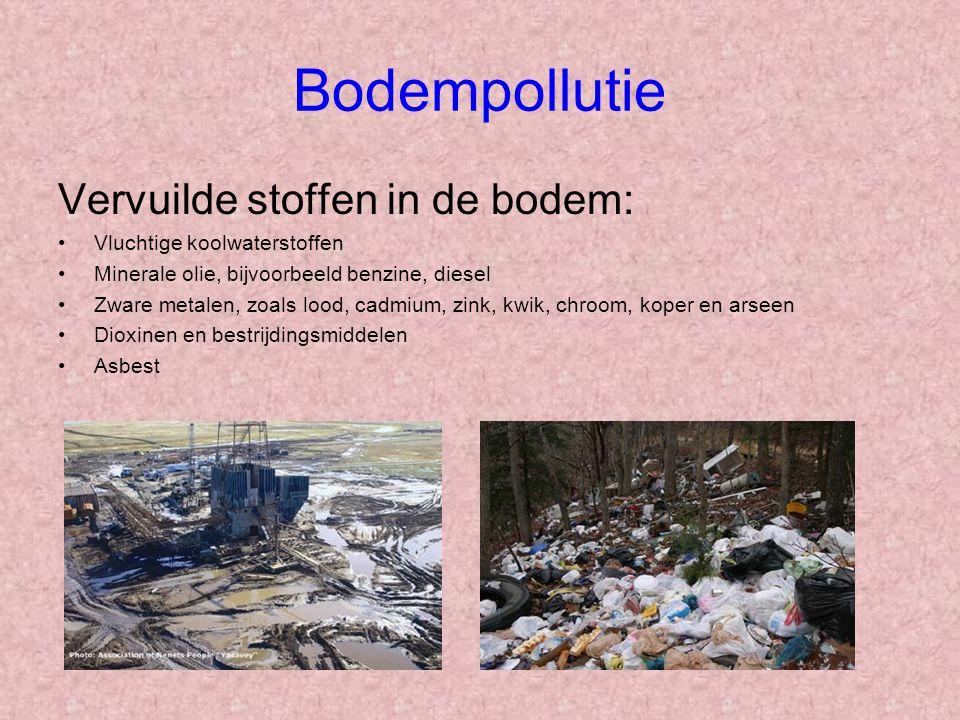 Bodempollutie Vervuilde stoffen in de bodem: