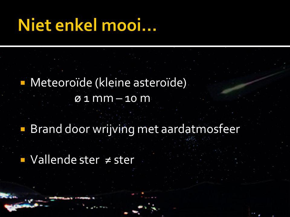 Niet enkel mooi… Meteoroïde (kleine asteroïde) ø 1 mm – 10 m