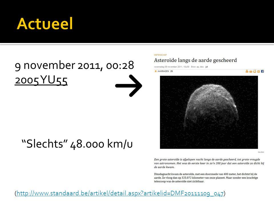 Actueel 9 november 2011, 00:28 2005 YU55 Slechts 48.000 km/u