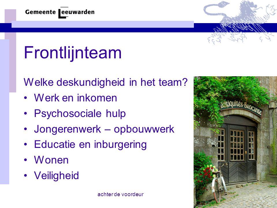 Frontlijnteam Welke deskundigheid in het team Werk en inkomen