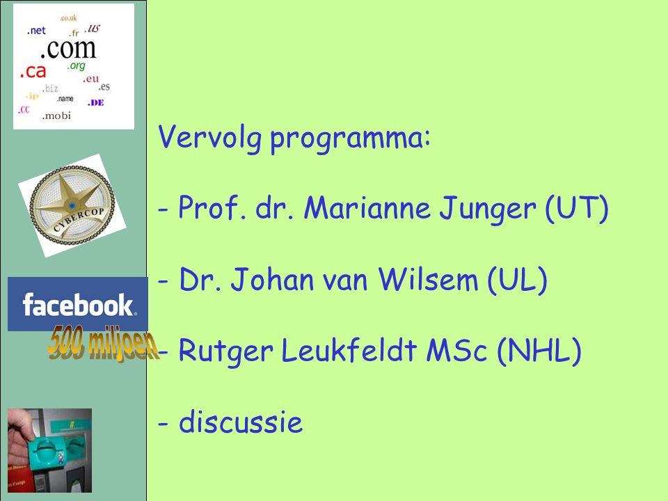 500 miljoen Vervolg programma: - Prof. dr. Marianne Junger (UT)