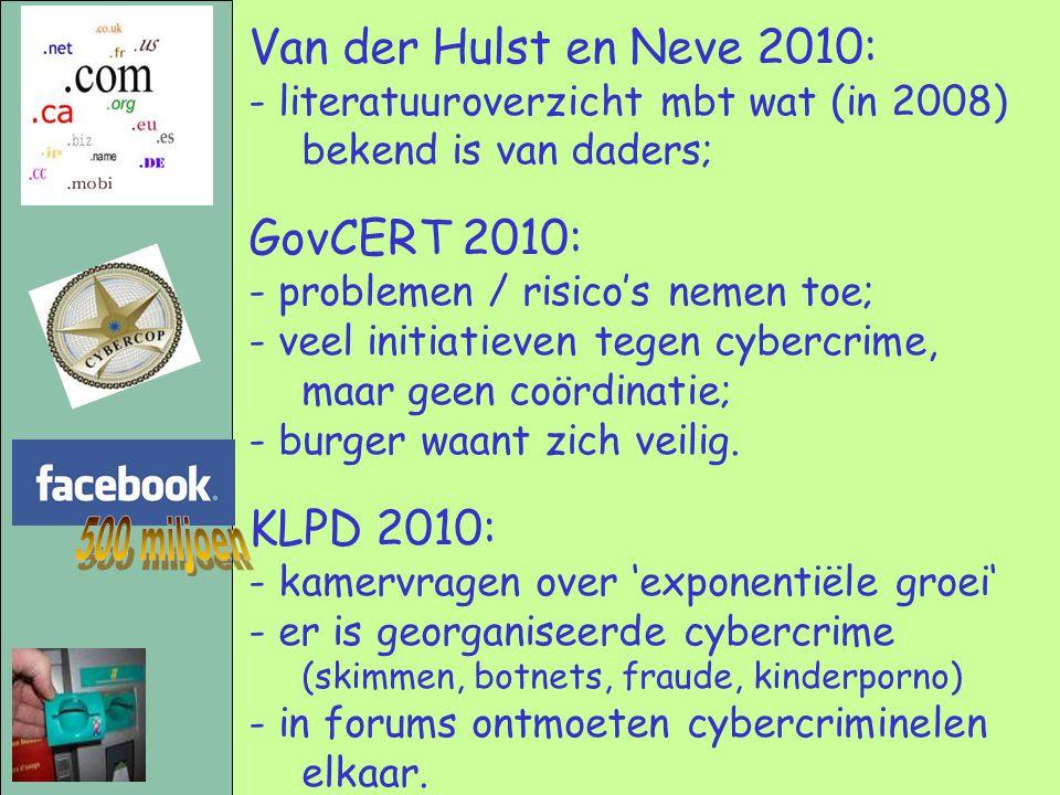 500 miljoen Van der Hulst en Neve 2010: GovCERT 2010: KLPD 2010: