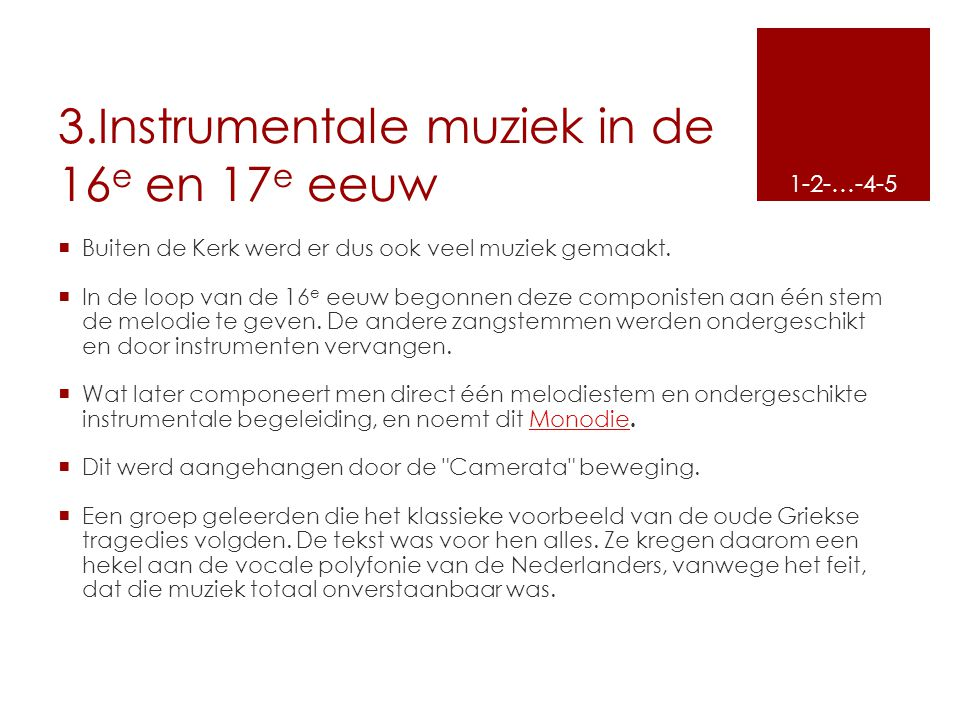3.Instrumentale muziek in de 16e en 17e eeuw