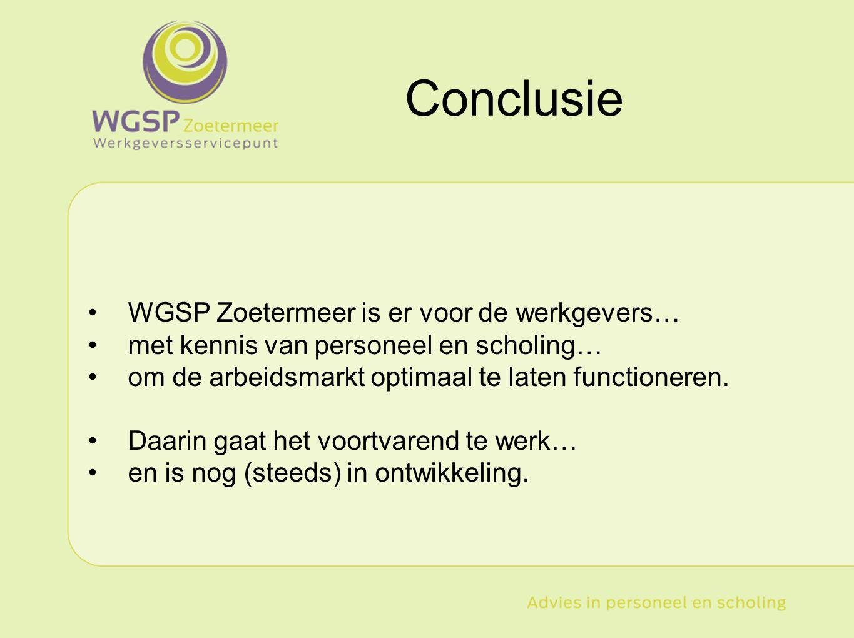 Conclusie WGSP Zoetermeer is er voor de werkgevers…