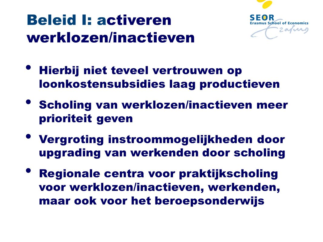 Beleid I: activeren werklozen/inactieven