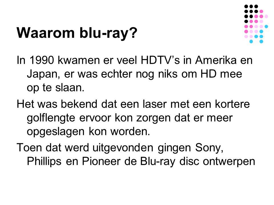 Waarom blu-ray In 1990 kwamen er veel HDTV's in Amerika en Japan, er was echter nog niks om HD mee op te slaan.