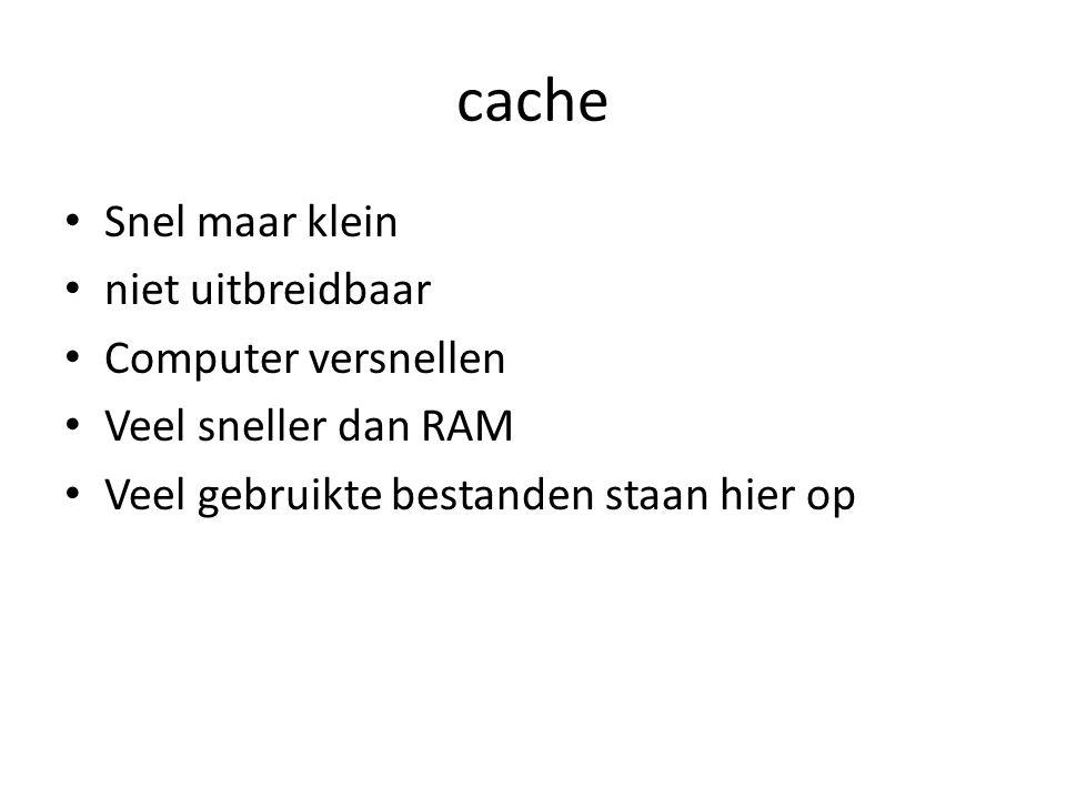 cache Snel maar klein niet uitbreidbaar Computer versnellen