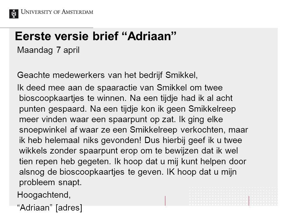 Eerste versie brief Adriaan