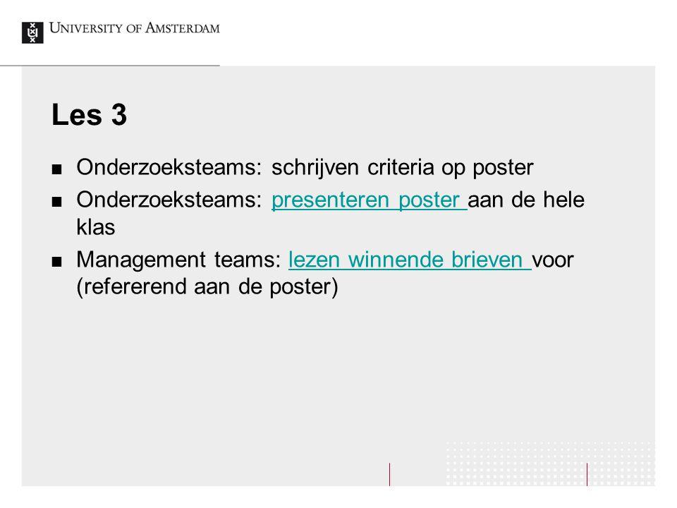 Les 3 Onderzoeksteams: schrijven criteria op poster