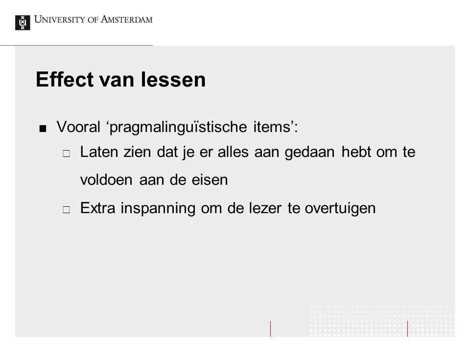 Effect van lessen Vooral 'pragmalinguïstische items':