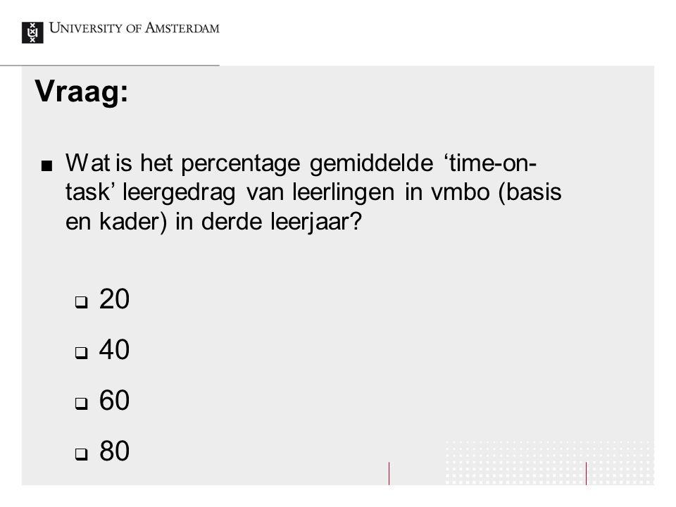 Vraag: Wat is het percentage gemiddelde 'time-on-task' leergedrag van leerlingen in vmbo (basis en kader) in derde leerjaar