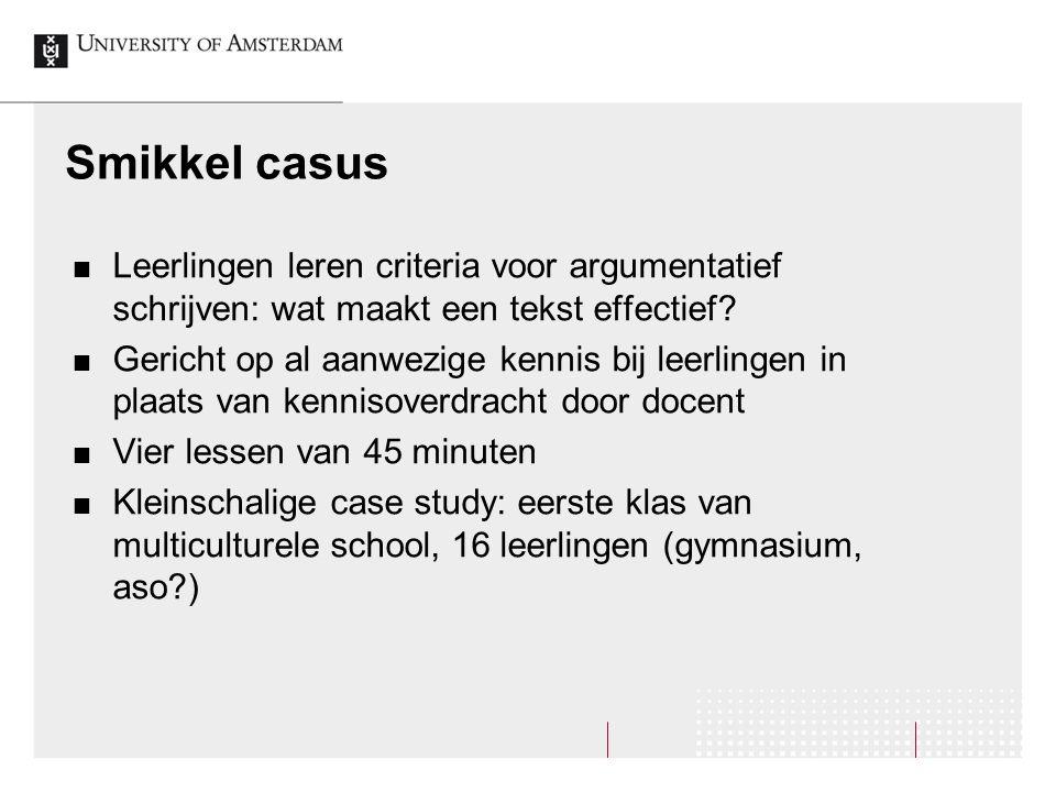 Smikkel casus Leerlingen leren criteria voor argumentatief schrijven: wat maakt een tekst effectief
