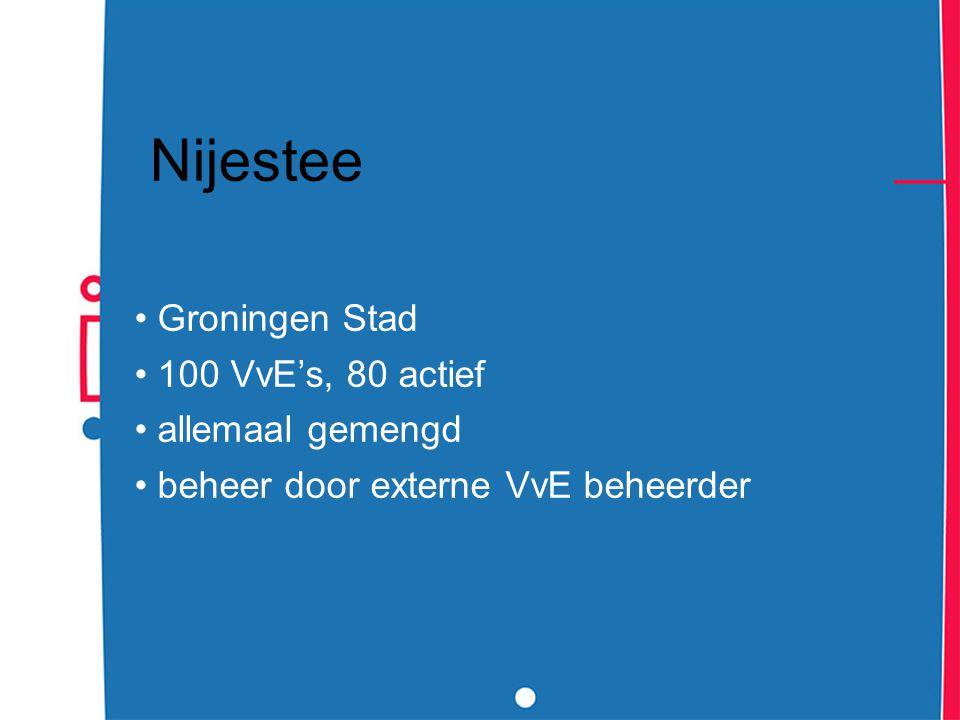 Nijestee Groningen Stad 100 VvE's, 80 actief allemaal gemengd